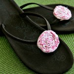 {DIY Tutorial} Fabric Rosette Flip Flops