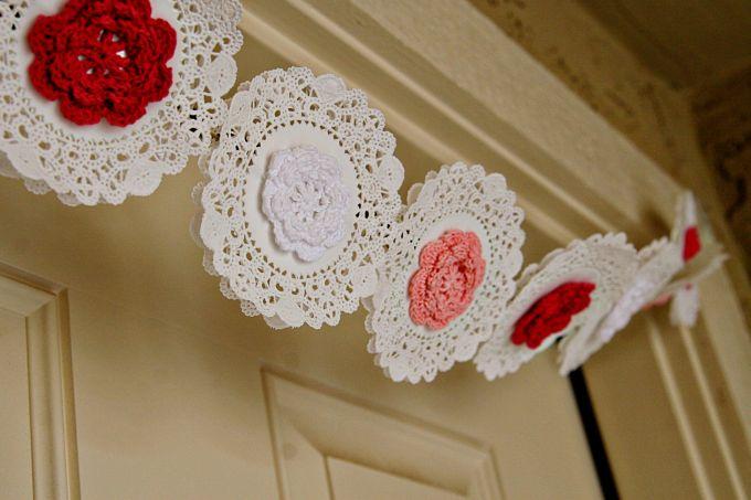 Doily & Crochet Flower Bunting
