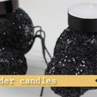 (20 crafty days of halloween) glitter spider candles