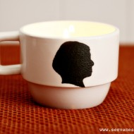 (diy tutorial) silhouette coffee cup candles