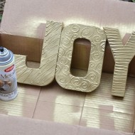 (20 crafty days of christmas) diy textured joy letters
