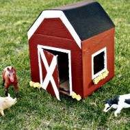(diy tutorial) miniature cardboard box barn