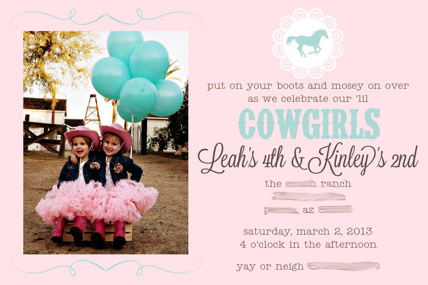 Party Leah Kinley S Pink Aqua Cowgirl Shindig See Vanessa Craft