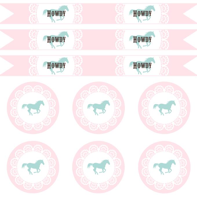 (party) pink & aqua cowgirl printables - See Vanessa Craft