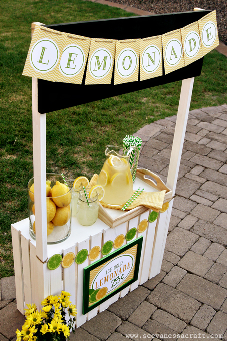 Diy tutorial crate lemonade stand for kids see vanessa for Rustic lemonade stand