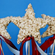 (recipe) independence day rice cereal treat star wands