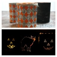 (30 crafty days of halloween) distressed halloween tin can candles