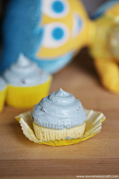 Inside Out Joy Lemon Cupcakes with Blueberry Frosting