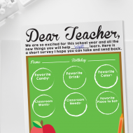 Back to School Teacher Survey - Free printable
