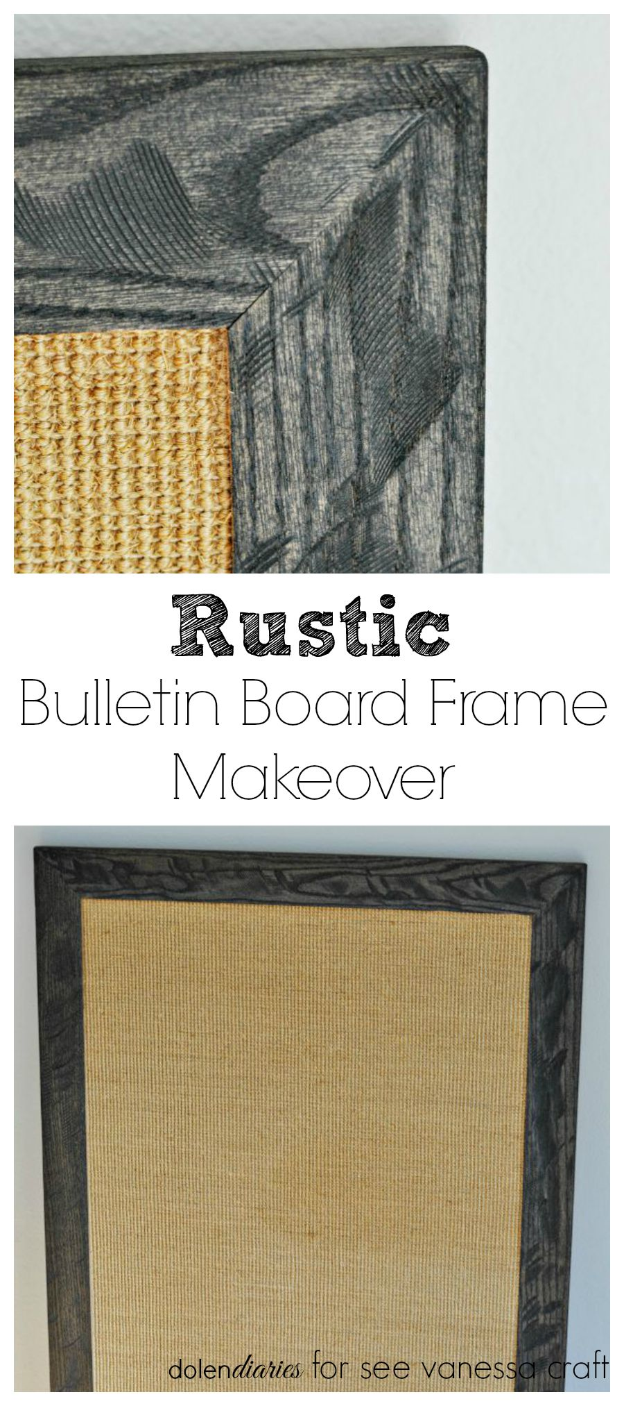Rustic Bulletin Board Frame Makeover with watermark Collage