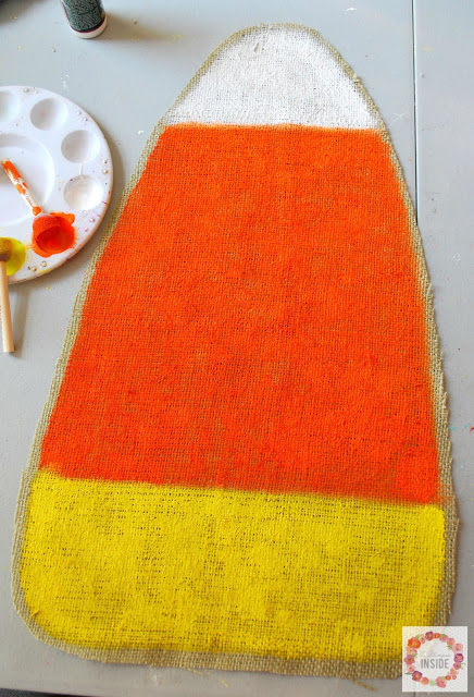 burlap candy corn- corn painted