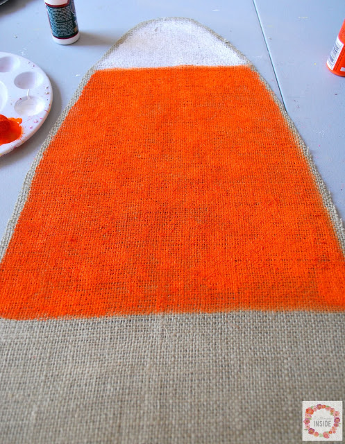 burlap candy corn- painting