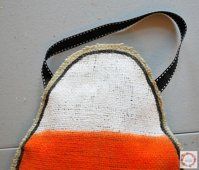 burlap candy corn- ribbon