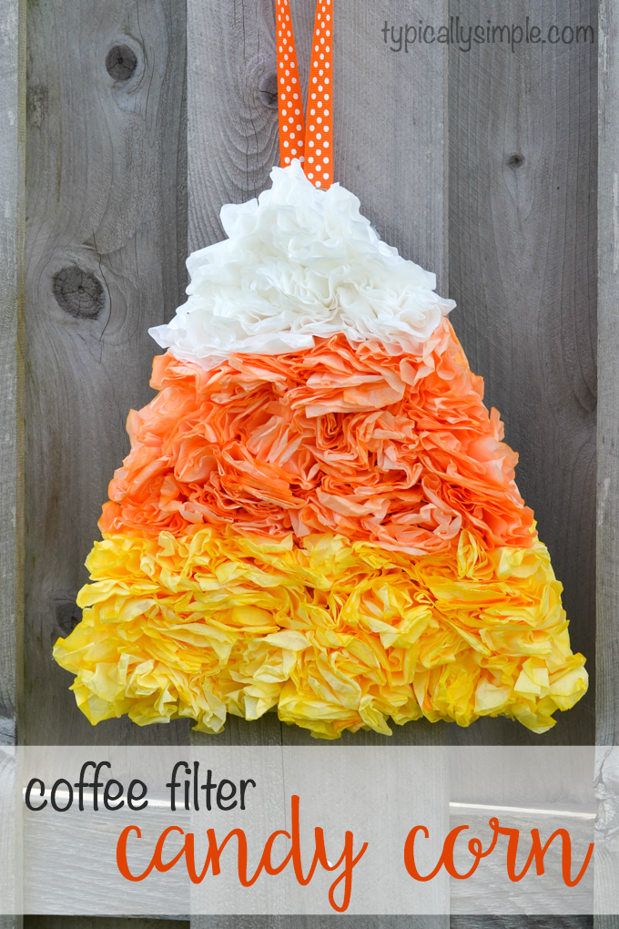 Halloween coffee filter candy corn see vanessa craft for Art and craft for school decoration