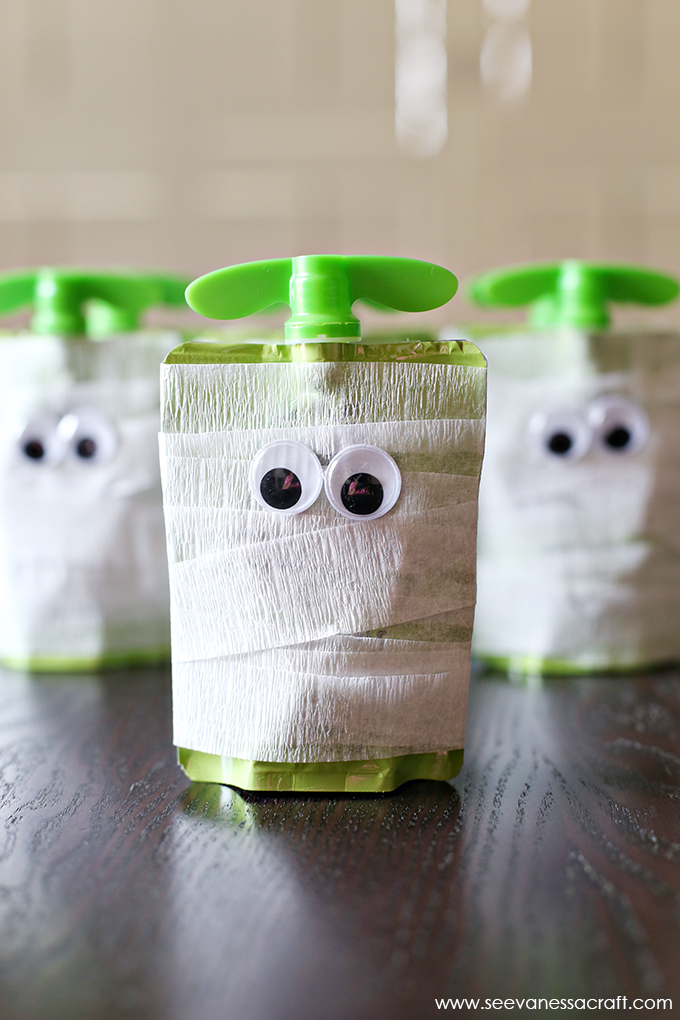 Mummy Apple Sauce School Snack for Halloween