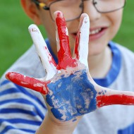 Veteran's Day Red, White & Blue Handprint Flag Craft