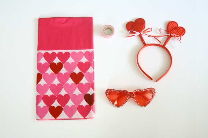 Materias Needed for DIY Photo Booth Backdrop - Valentine's Day