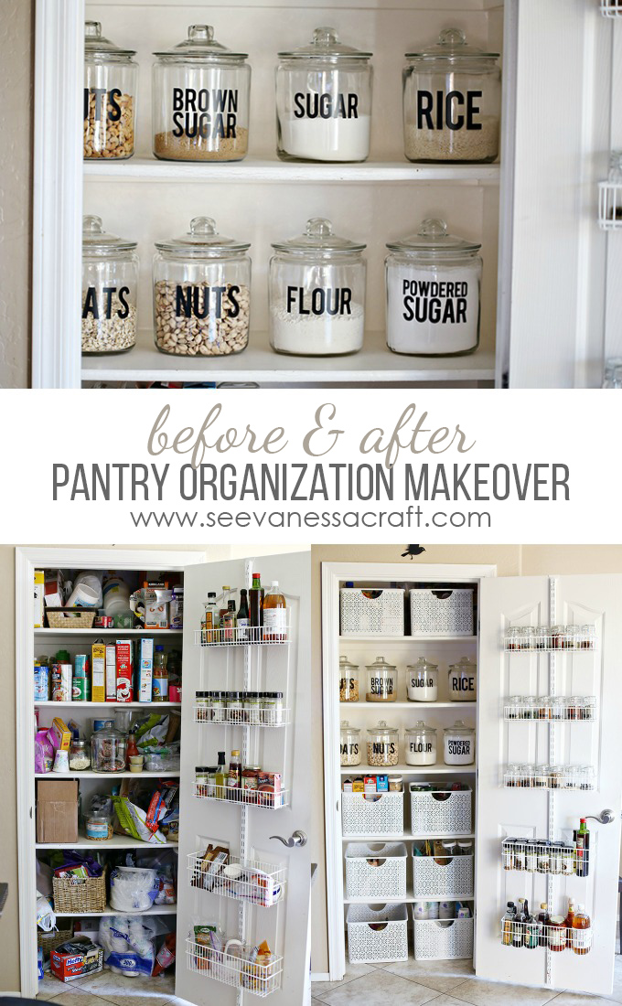 organization small pantry makeover see vanessa craft. Black Bedroom Furniture Sets. Home Design Ideas