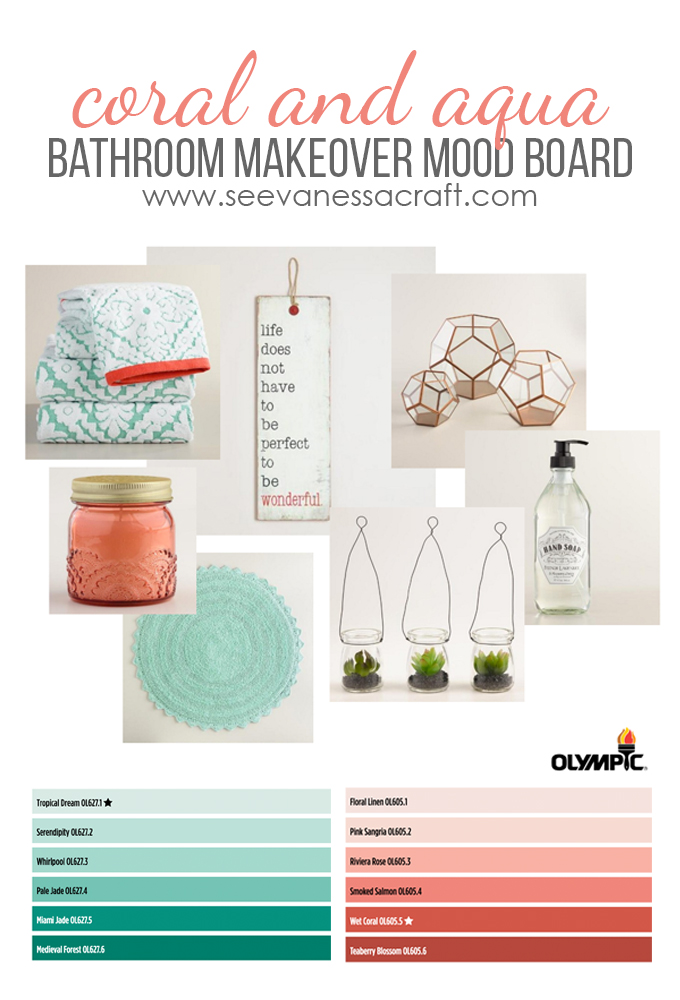 Olympic Coral and Aqua Bathroom Mood Board