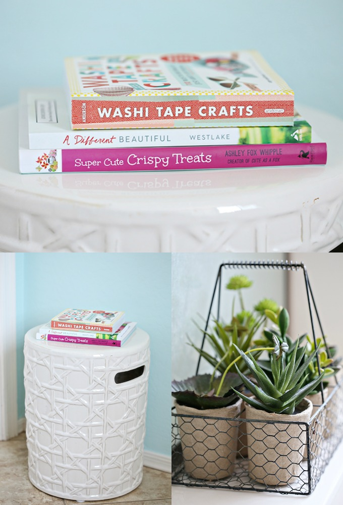 Aqua and Coral Bathroom Makeover 1