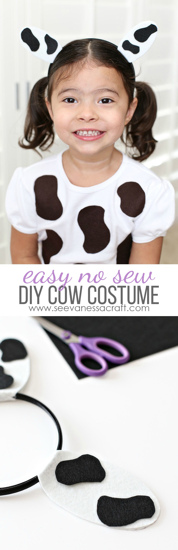 Easy No Sew DIY Cow Costume