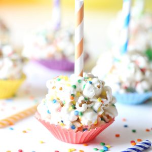 Birthday Marshmallow Popcorn Ball Pops