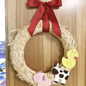 Classroom Barn Door and Easy Farm Animal Straw Wreath