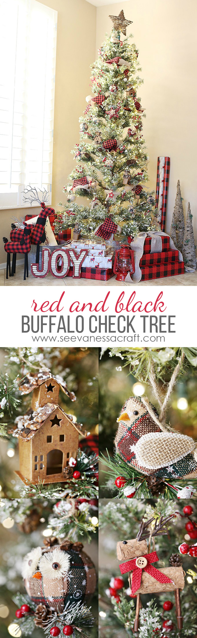 red and black buffalo plaid christmas tree copy - Red And Black Plaid Christmas Decor