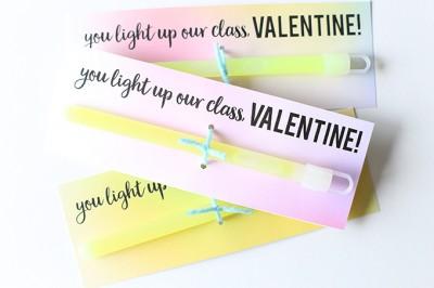 Glow Stick Valentine's Day Printable Cards
