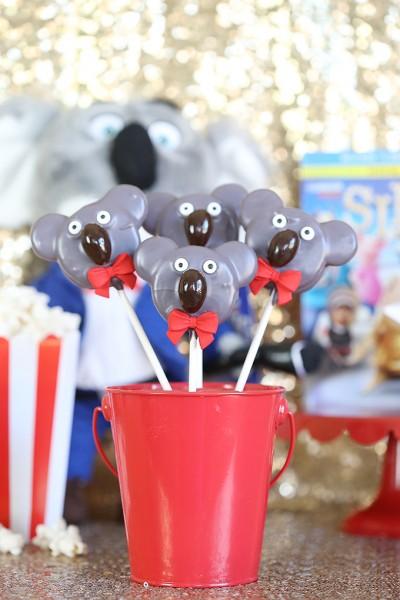 Sing Movie Night Ideas - Buster Moon Koala Oreo Pops