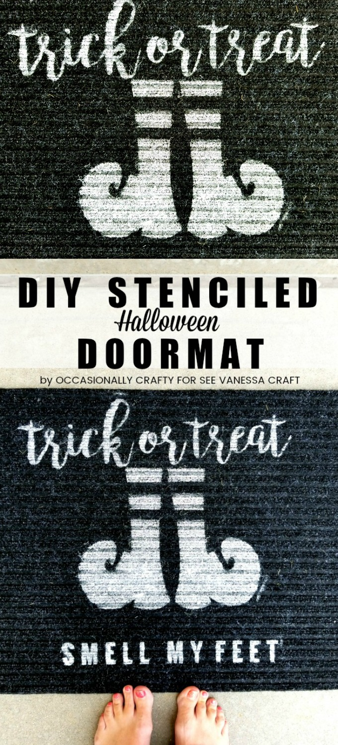 halloween: diy stenciled trick or treat doormat - see vanessa craft
