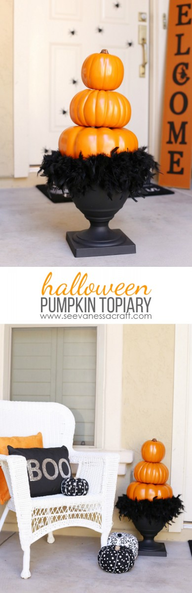 Stacked Pumpking Topiary Craft for Halloween