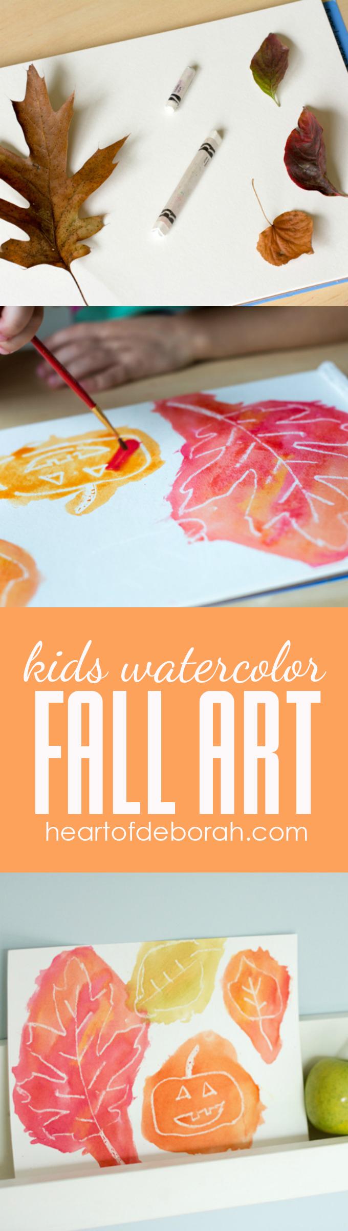 Kids Watercolor White Crayon Resist Fall Art for Kids