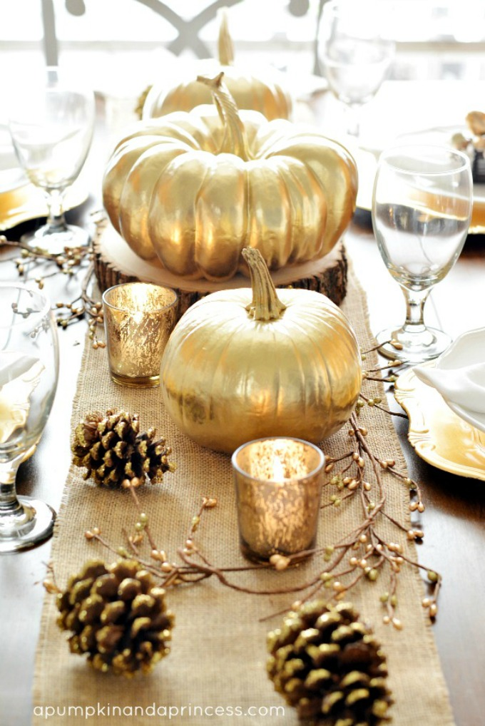 Thanksgiving Inspired Gold Table Decor