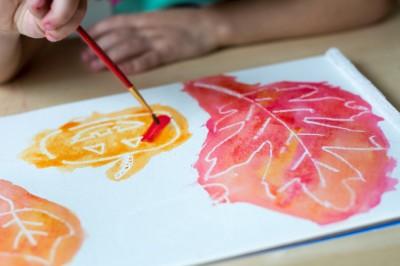 Fall White Crayon Resist Watercolor Art for Kids