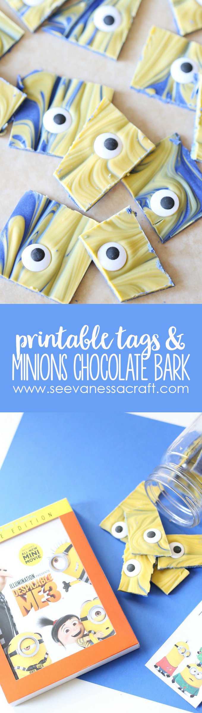 Minions Chocolate Bark Recipe and Printable Gift Tags