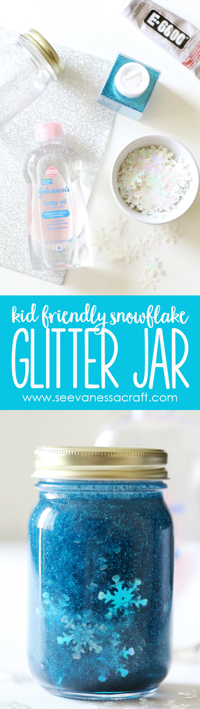 Snowflake Glitter Calm Down Jar for Kids