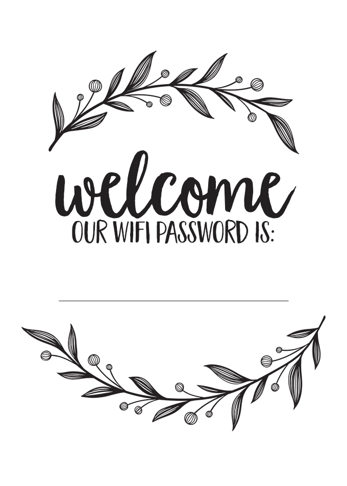 picture regarding Printable Wifi Sign titled Do-it-yourself: Visitor Welcome Basket and Wifi Pword Indicator - View