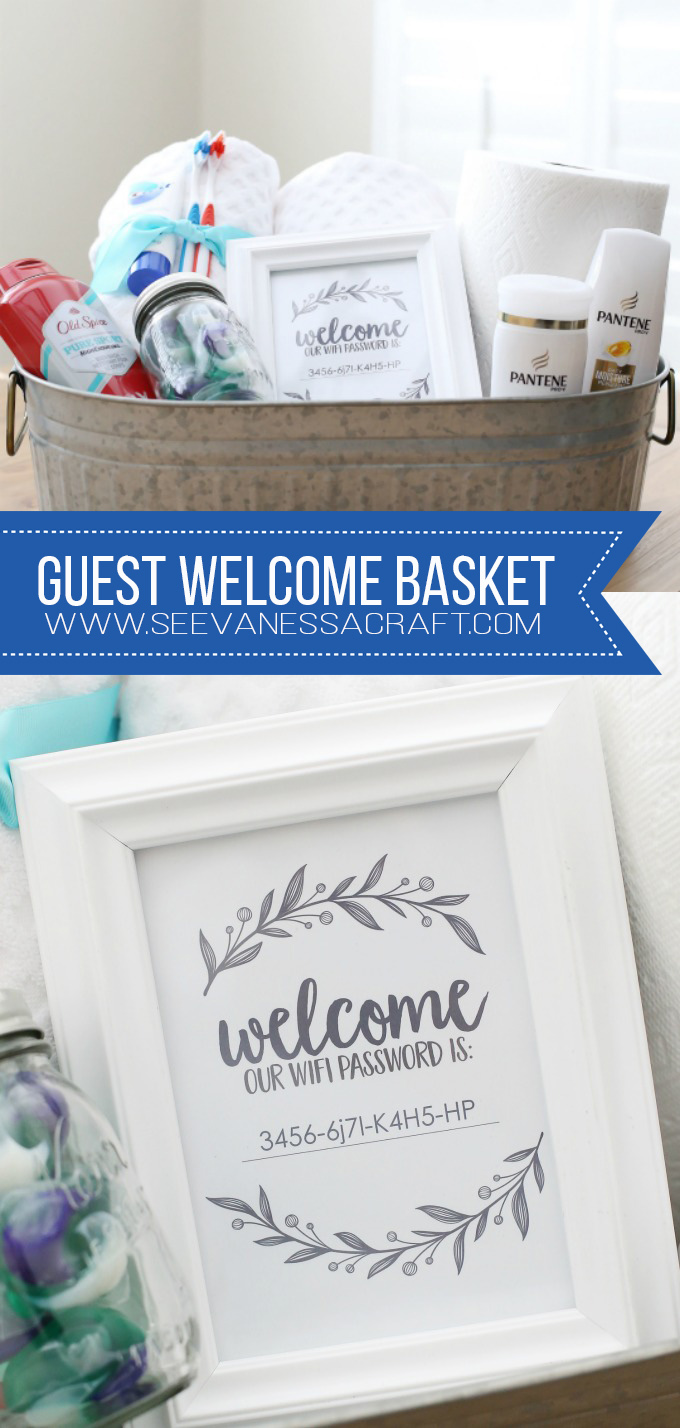 Welcome Guest Basket and Wifi Password Printable