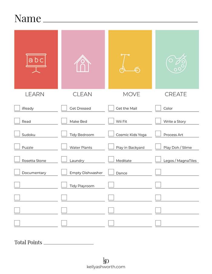 Free Printable Quarantine Responsibility Chart For Kids