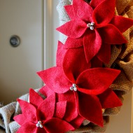 (diy tutorial) burlap poinsettia wreath