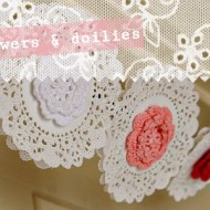 (diy tutorial) crocheted flowers & doilies bunting