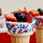 (diy tutorial) red, white & blue chocolate fruit cones