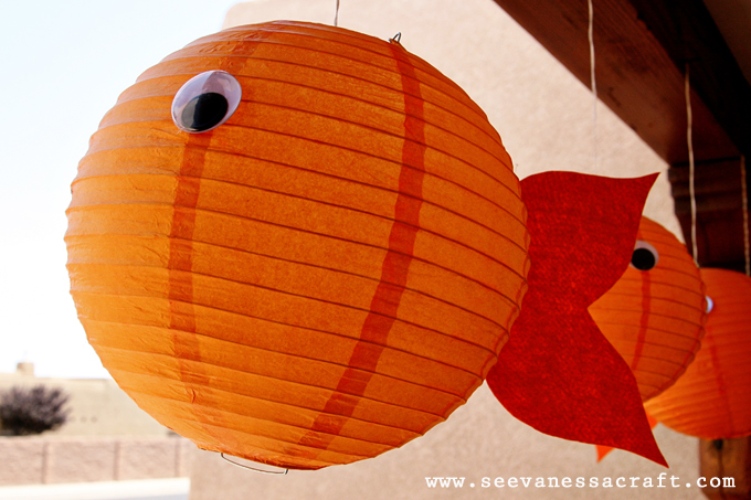 Party goldfish second birthday see vanessa craft for Fish paper lanterns