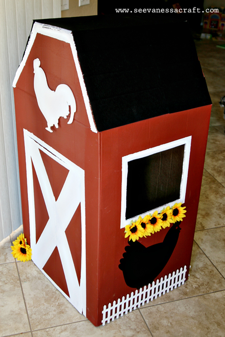 Diy tutorial cardboard box barn see vanessa craft for What can i make with boxes