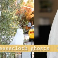 (20 crafty days of halloween) 5 minute cheesecloth ghosts