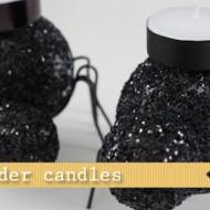 (20 crafty days of halloween) glitter spider candles