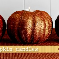 (diy tutorial) glitter pumpkin candles