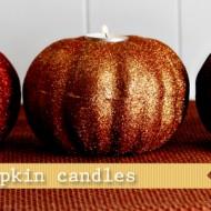 (diy tutorial) glitter pumpkin candles