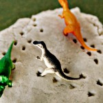 (tot school tuesday) homemade glitter play dough & dino tracks activity